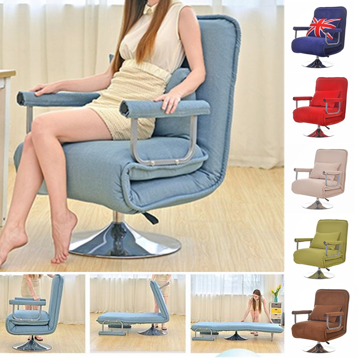 Incredible Details About Luxury Multi Function Convertible Rotation Sofa Bed Folding Chair Couch Recliner Bralicious Painted Fabric Chair Ideas Braliciousco