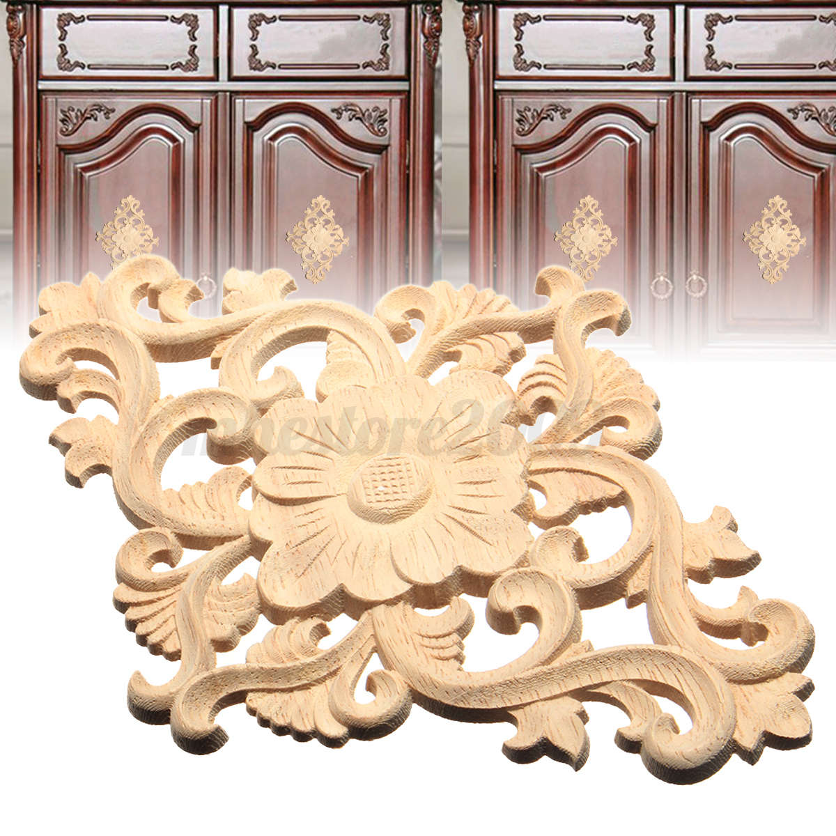 Lots wood carved long onlay applique unpainted flower