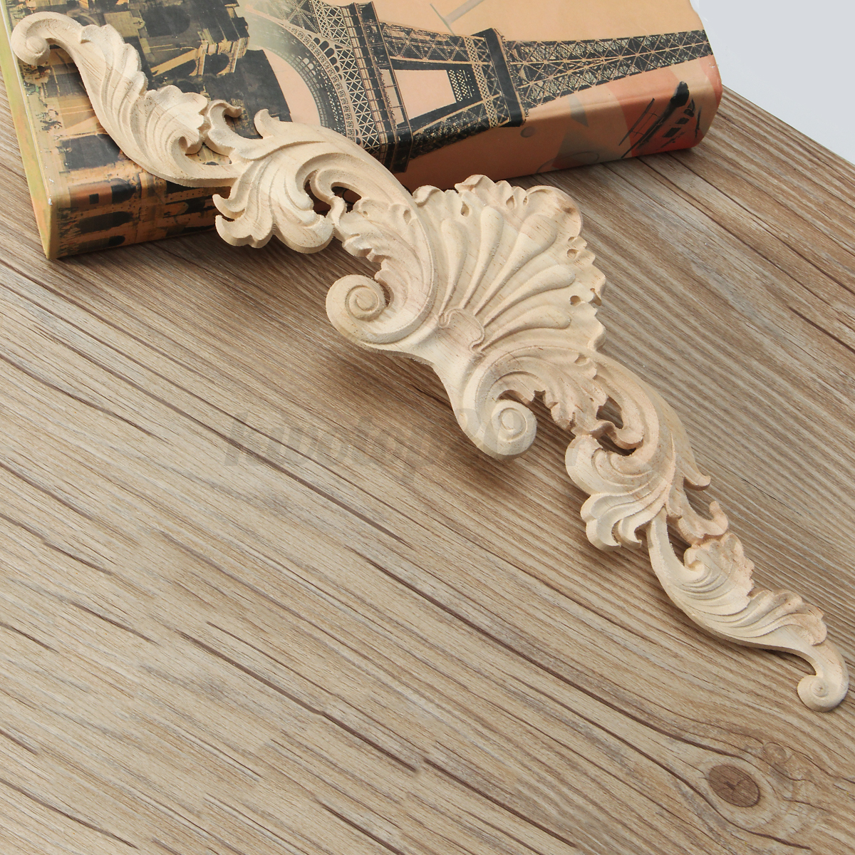 2 4x 25x9cm 40x10cm Wood Onlay Applique Wooden Oak Woodcarving Furniture Decal