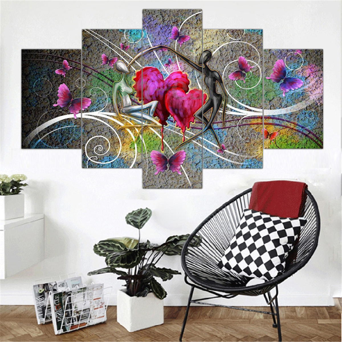 modern abstract red love canvas painting print home wall room rh ebay com au