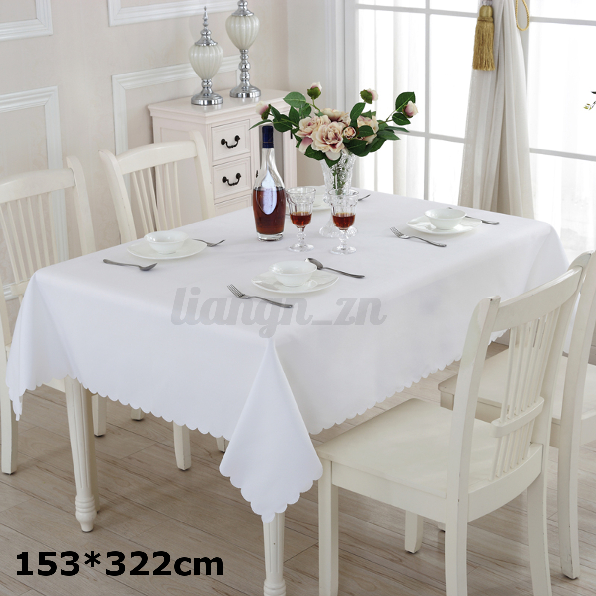 rectangulaire nappe blanche de table mariage d coration c r monie banquet f te ebay. Black Bedroom Furniture Sets. Home Design Ideas
