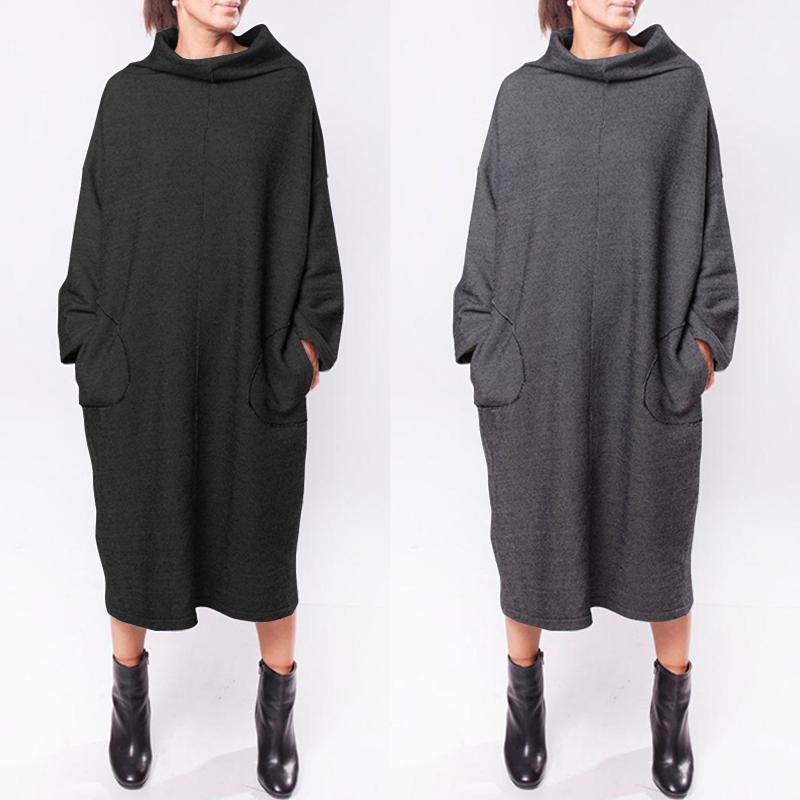 ZANZEA Women Long Sleeve Turtleneck Sweatshirt Shirt Dress Plain Midi Dress Plus