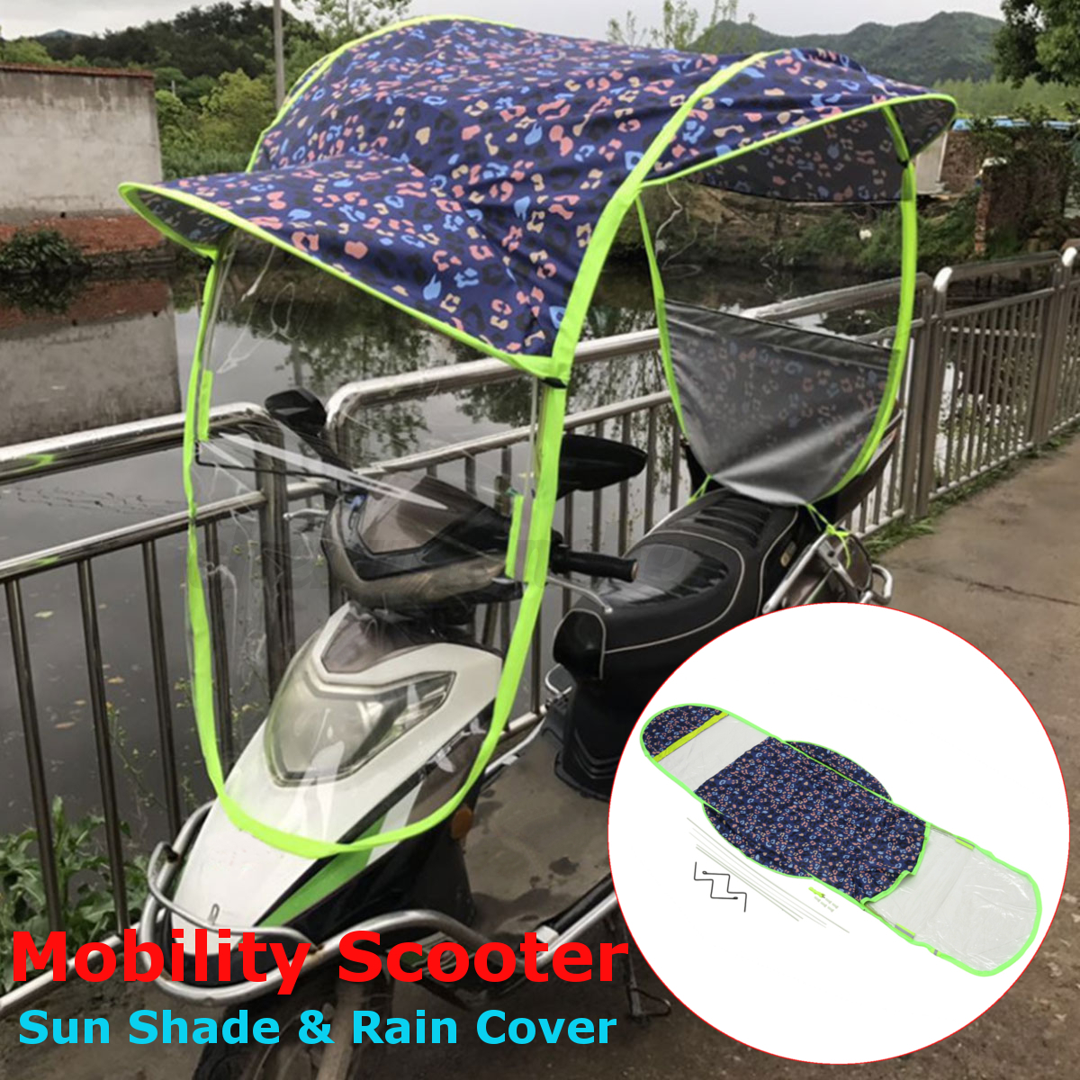 Universal car motor scooter umbrella mobility sun shade for Motor scooter store near me