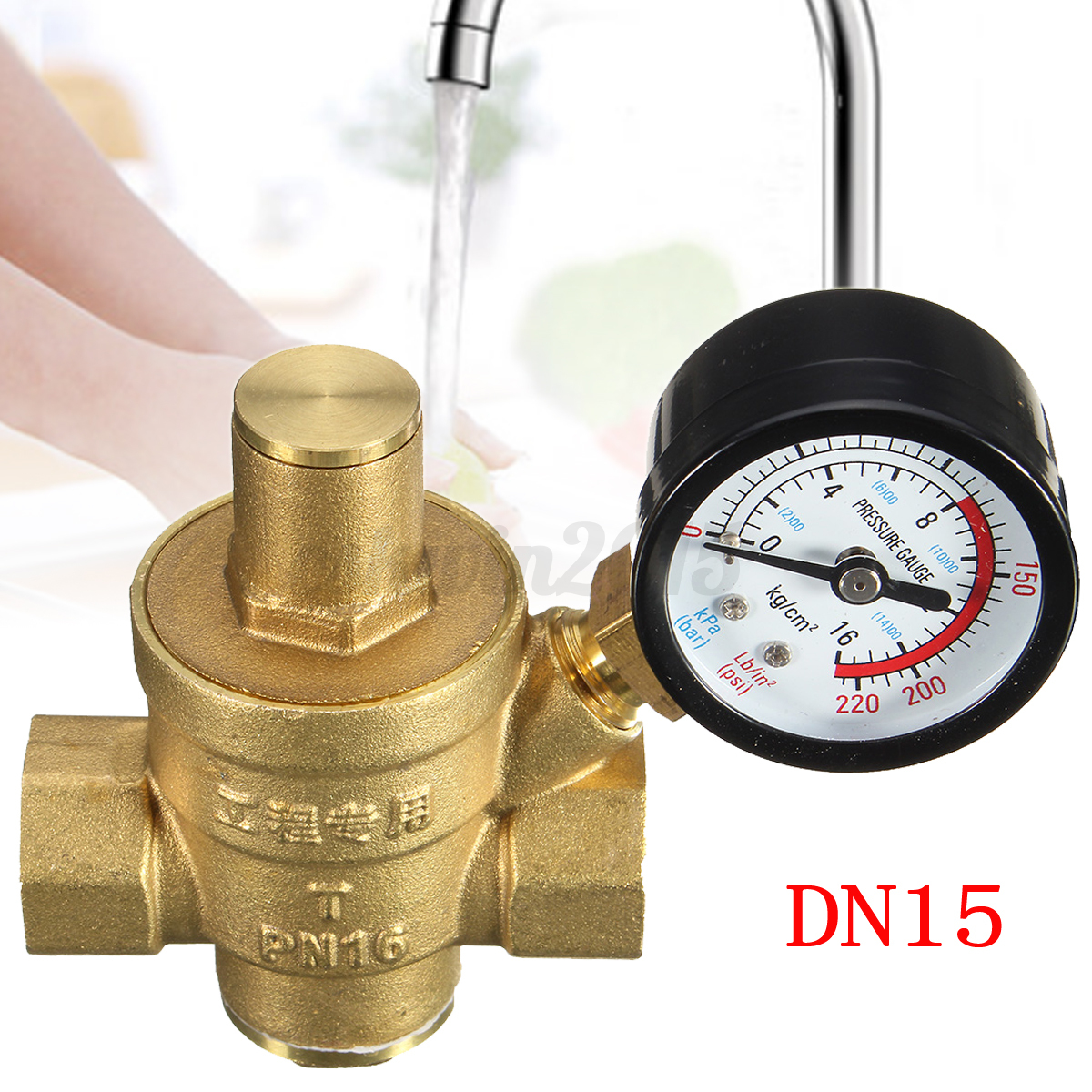 dn15 1 2 brass water pressure adjustable regulator reducing with gauge meter ebay. Black Bedroom Furniture Sets. Home Design Ideas