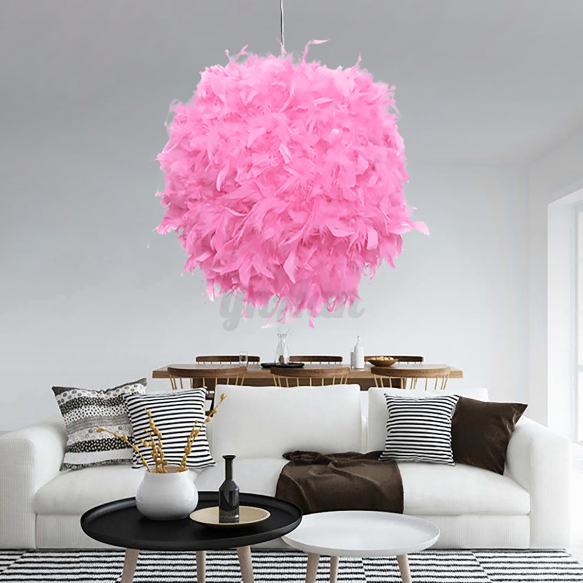 Ceiling Lamp Shades For Living Room: Modern Feather Ball Light Shade Ceiling Lighting Living