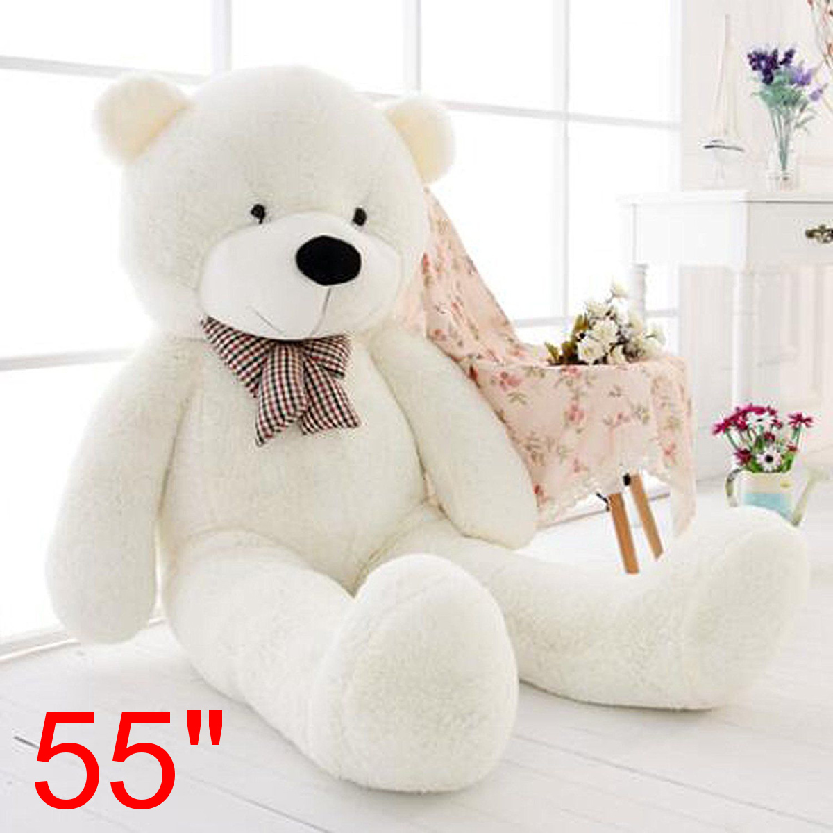 55/'/'Big Teddy Bear White Plush Soft Toys Doll Only Cover Case No Filled Kid Gift