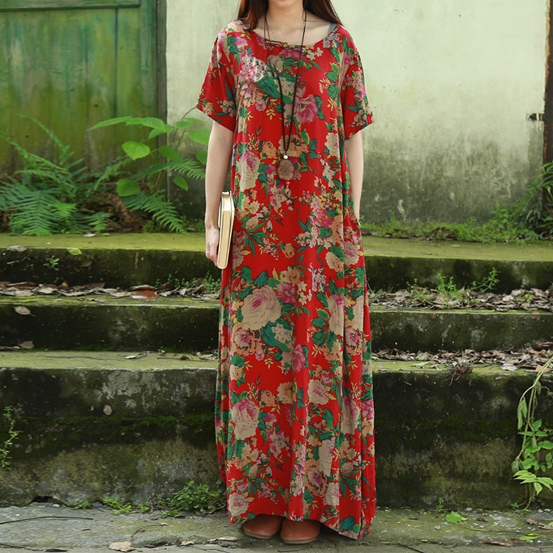 ZANZEA Women O Neck Short Sleeve Loose Plus Floral Print Long Maxi Dress Kaftan