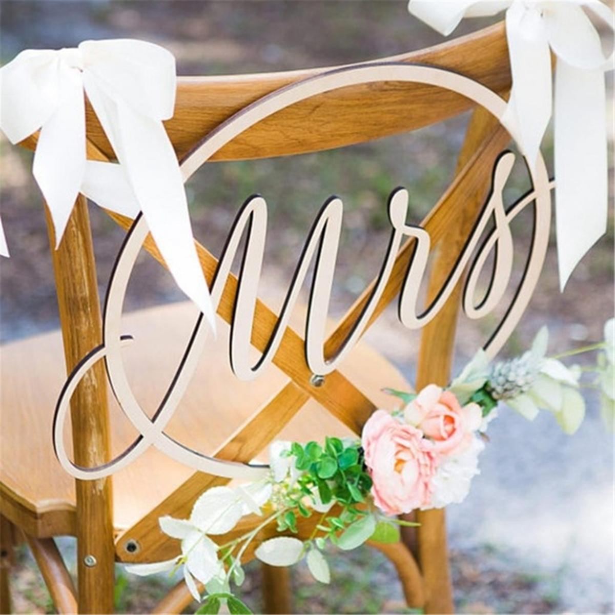 2PCS Mr /& Mrs Hochzeit Stuhl Aufhänger Dekoration Holz Zeichen Banner Deko ^