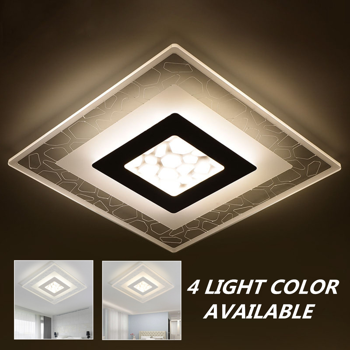 Modern Simple Square Acrylic LED Ceiling Light Living Room Bedroom ...