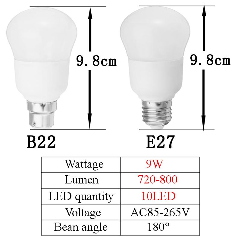 5-9-15-20-30W-E27-B22-Gourde-Balle-Ampoule-Lampe-Eclairage-Lumiere-85-265V-Blanc