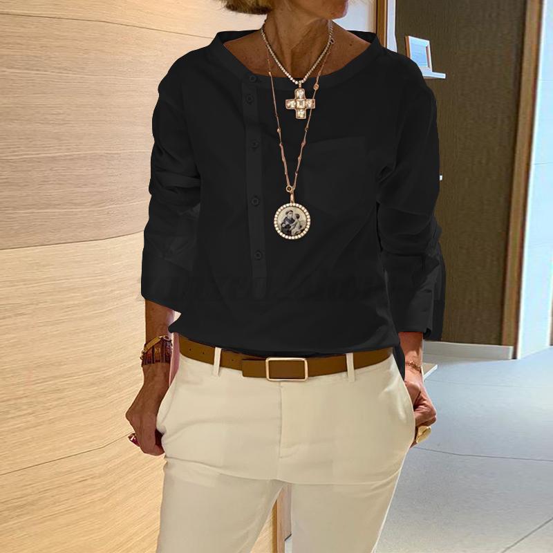 Mode-Femme-Chemise-Manche-Longue-Ourlet-Personnalite-Boutons-Haut-Shirt-Plus miniature 6