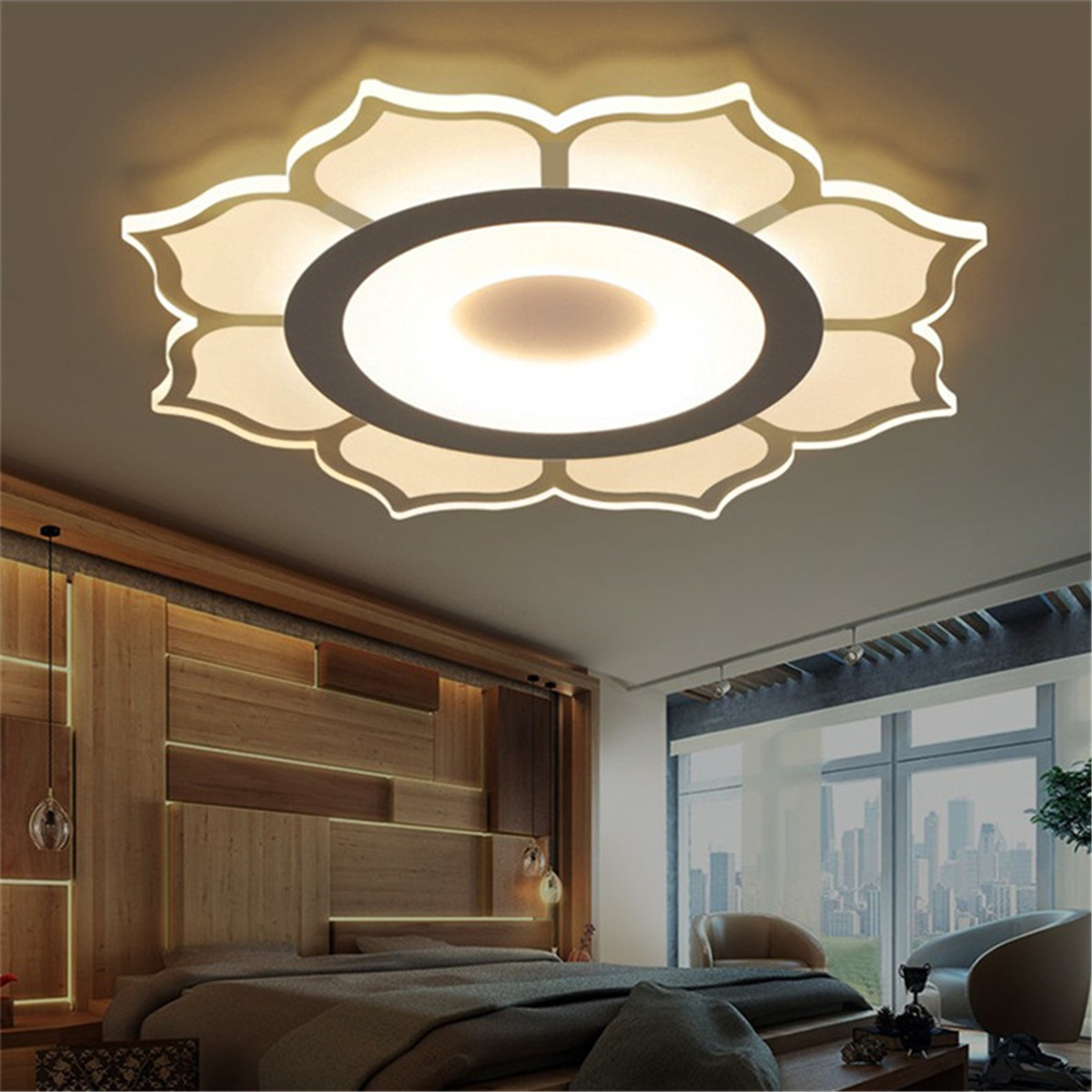Elegant Modern Deckenleuchte LED Lampe Beleuchtung Lotosblume Wohnzimmer Deko