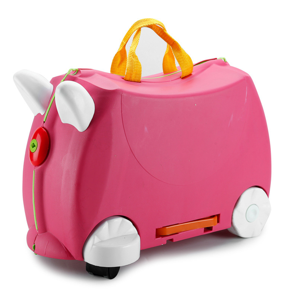 Carnival Toy Box Pink: Ride On Suitcase Toy Box Kids Children Travel Luggage