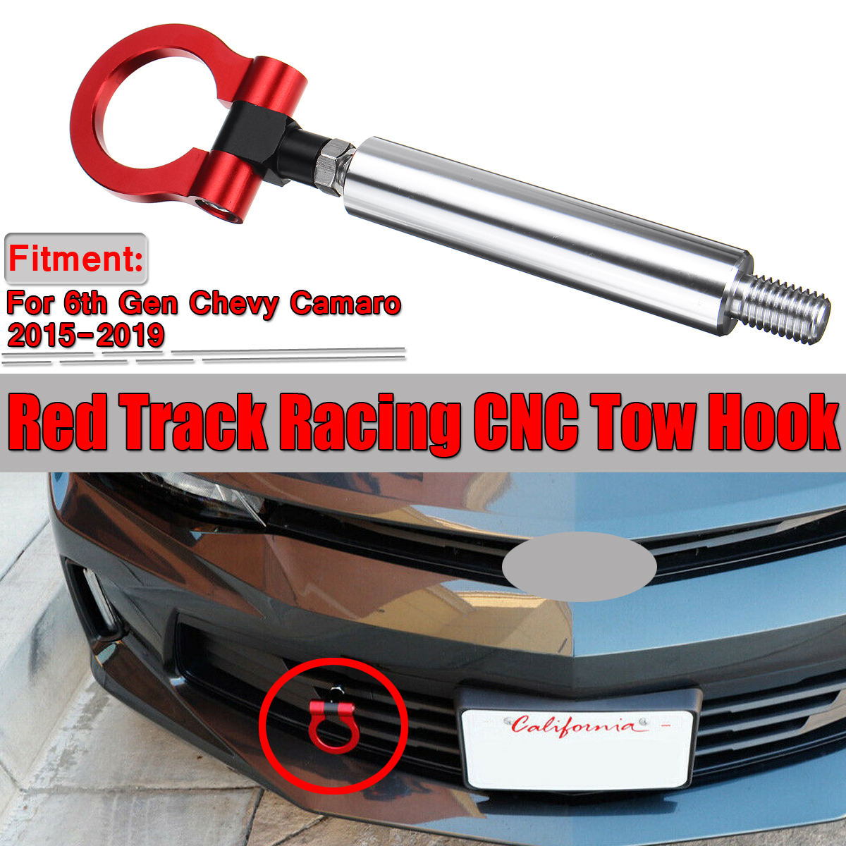 Sporty Customized Red Track Racing CNC Tow Hook for Chevrolet Camaro 6 Gen 2016+
