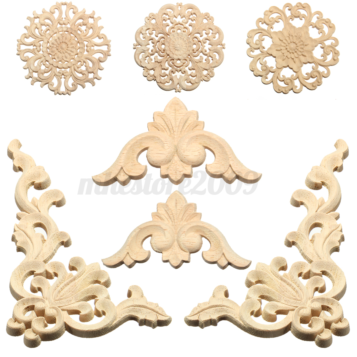 Lots wood carved long onlay applique unpainted flower for Decorative wood onlays