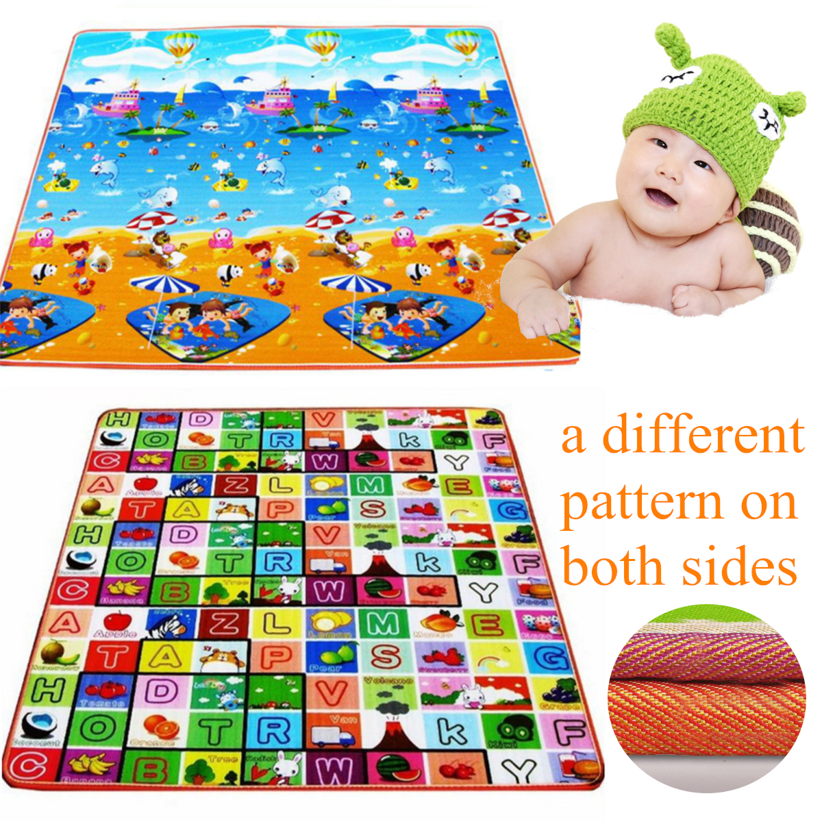 Baby Kids Play Crawl animal Mat Child Activity Soft Toy Blanket Rug Carpet