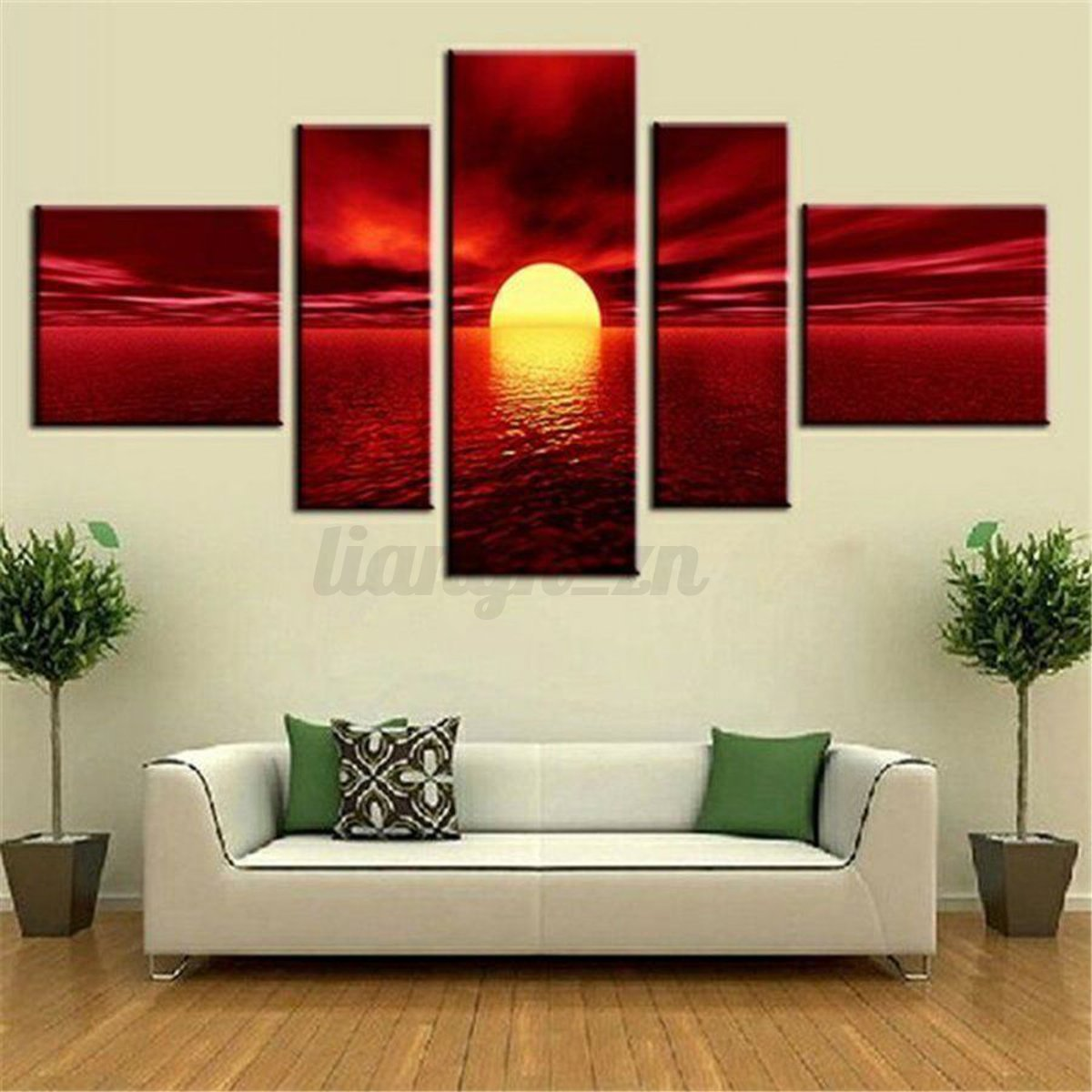 5pcs Framed Unframed Red Sunrise Landscape Canvas Prints