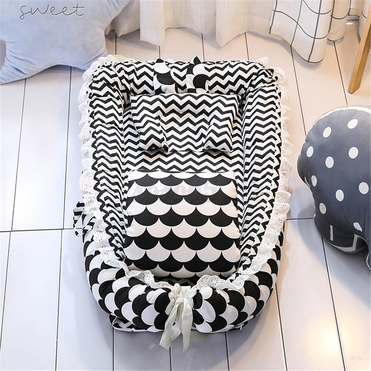 Baby Sleep Nest Bed Pillow Quilt Newborn Breathable Cotton S