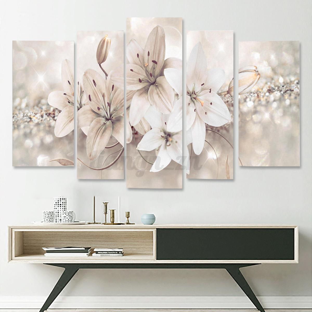 5pcs peinture l 39 huile tableau lis fleur abstraite - Tableau moderne salon ...