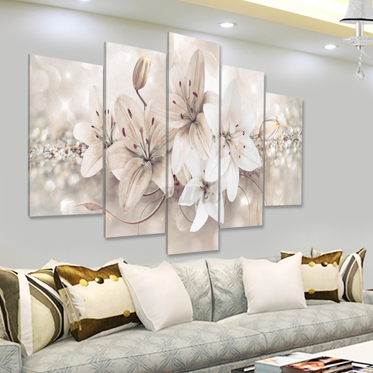 5Pcs Abstract Flowers Canvas Print Painting Wall Pictures Home Art ...