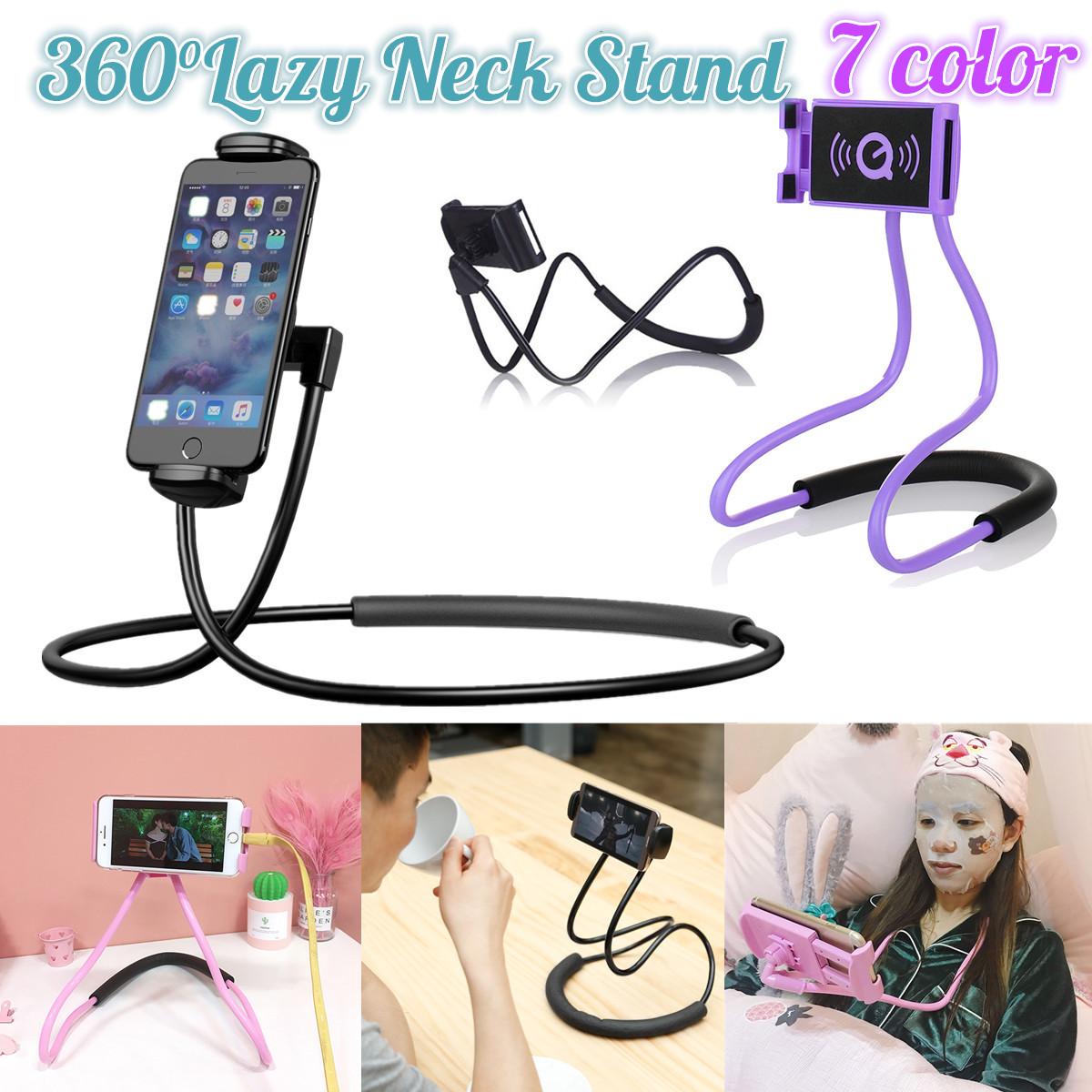 ❤ Lazy Hanging Neck Phone Mount Holder Stand Necklace Bracket For iPhone Samsung