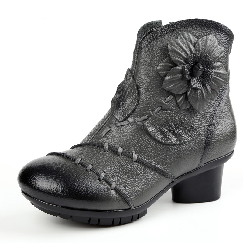 handmade leather boots womens socofy vintage zipper ankle leather boots floral 1023
