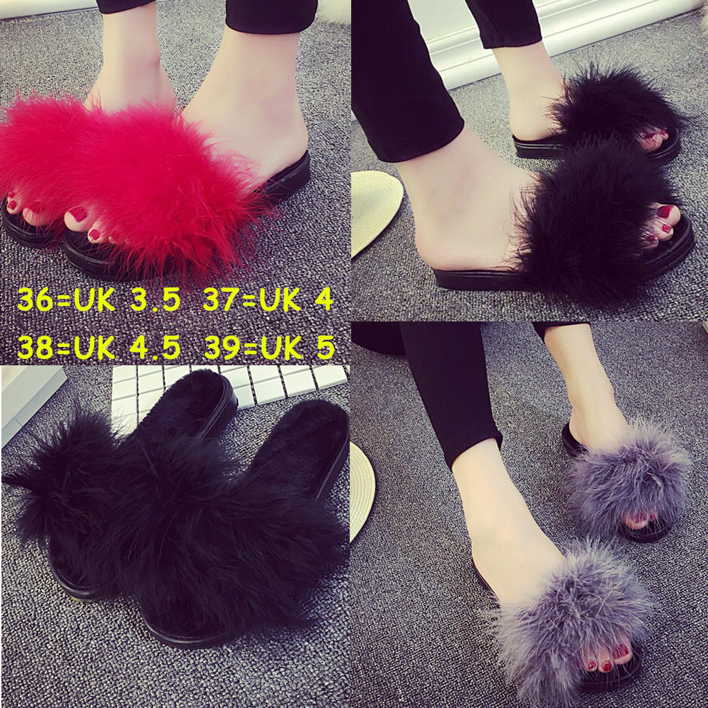b4c0dcb40a9e Women s Fur Fluffy Slippers Slides Mules Sandals Feather Home Open ...