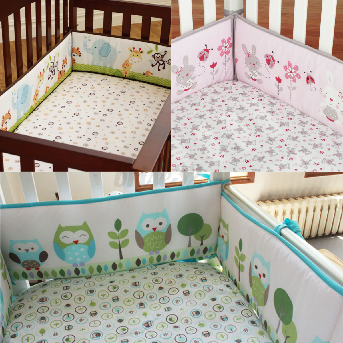 4Pcs/set Animal Baby Infant Cot Crib Bumper Toddler