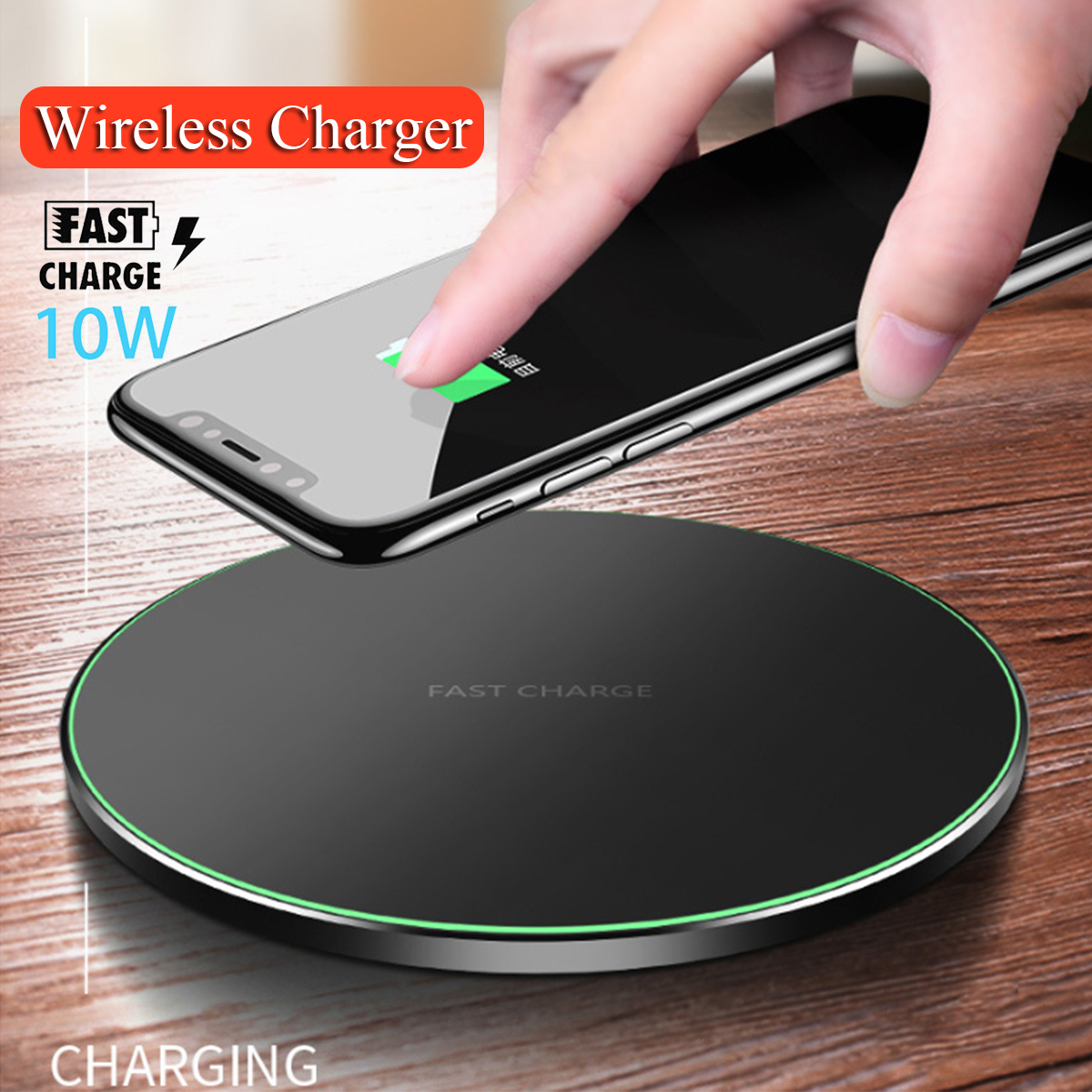 new product 26948 a3e61 Details about Qi Wireless Fast Charger Charging Pad Metal Mat For iPhone XS  Max Samsung S10+