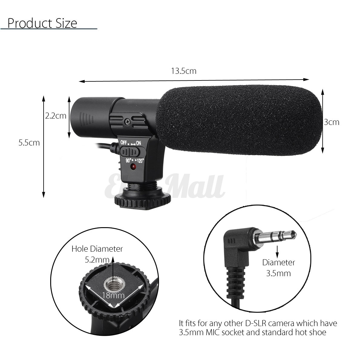 35mm External Stereo Microphone For Canon Nikon Dslr Camera Dv Boya By M1 Clip On Mic Sony Kamera Universal Video Camcorder Iphone 9 Of 11
