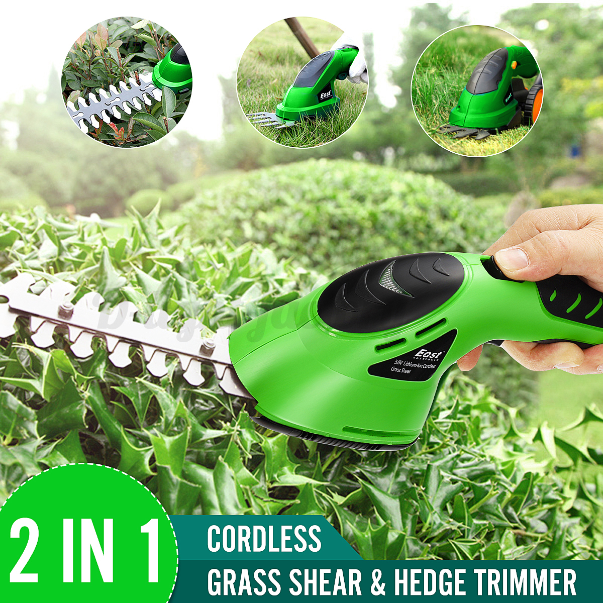 Cordless-Grass-Shear-Lawnmower-Garden-Pruning-Hedge-Trimmer-Rod-Wheel-Holder thumbnail 2