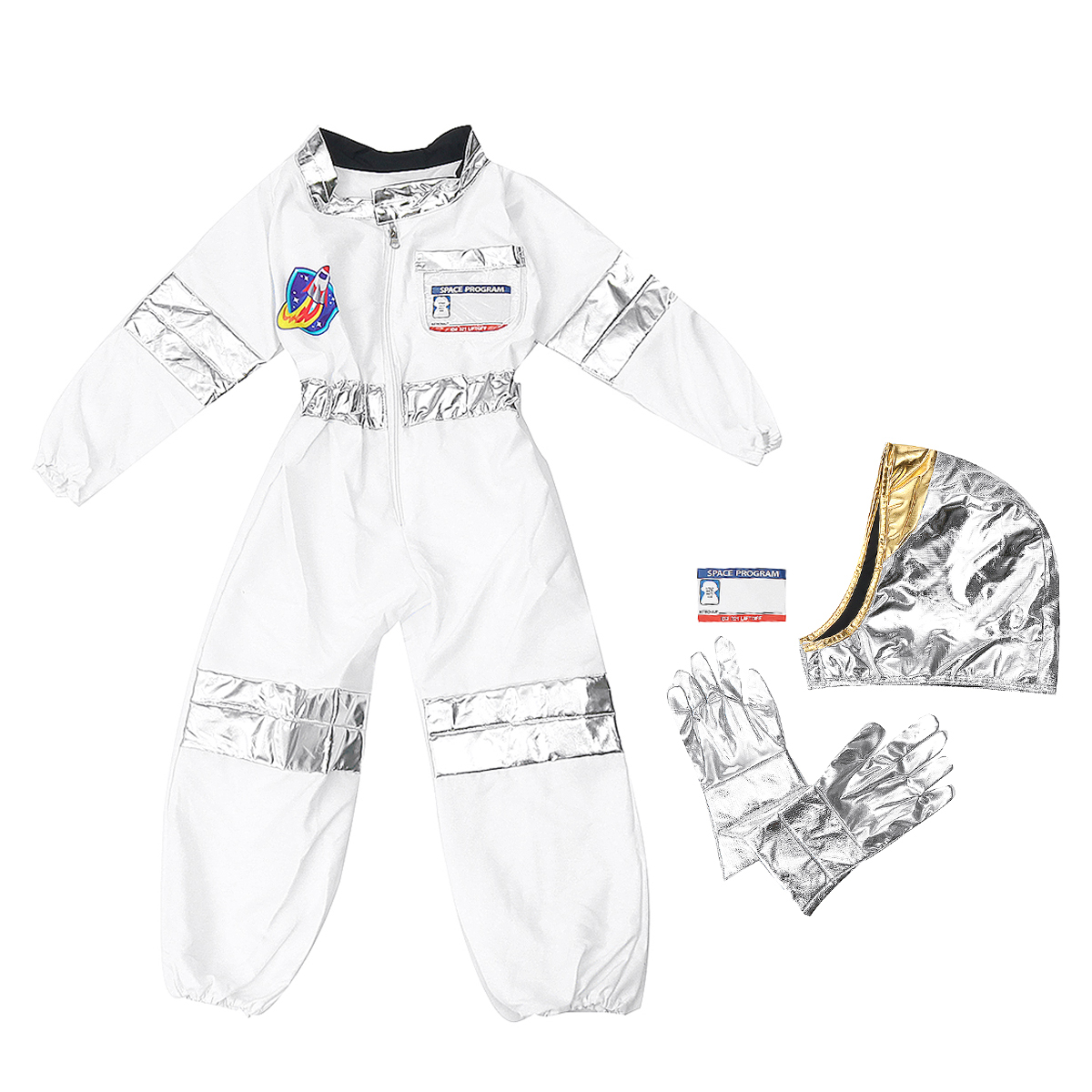 Childrens Astronaut Space Costume Space Pretend Dress Up Role Play Set for Kids Cosplay Ages 3-7 White