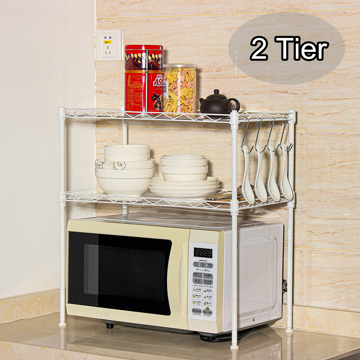 Details About 2 Tier Adjustable Steel Wire Shelving Unit Metal Rack Home Kitchen Storage Shelf