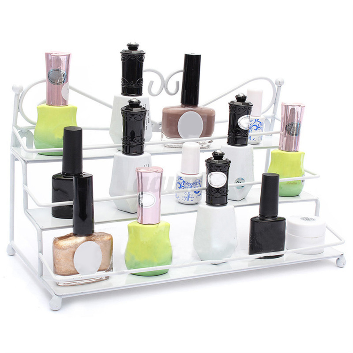 3 Tier Metal Heart Nail Polish Display Wall Rack Organizer