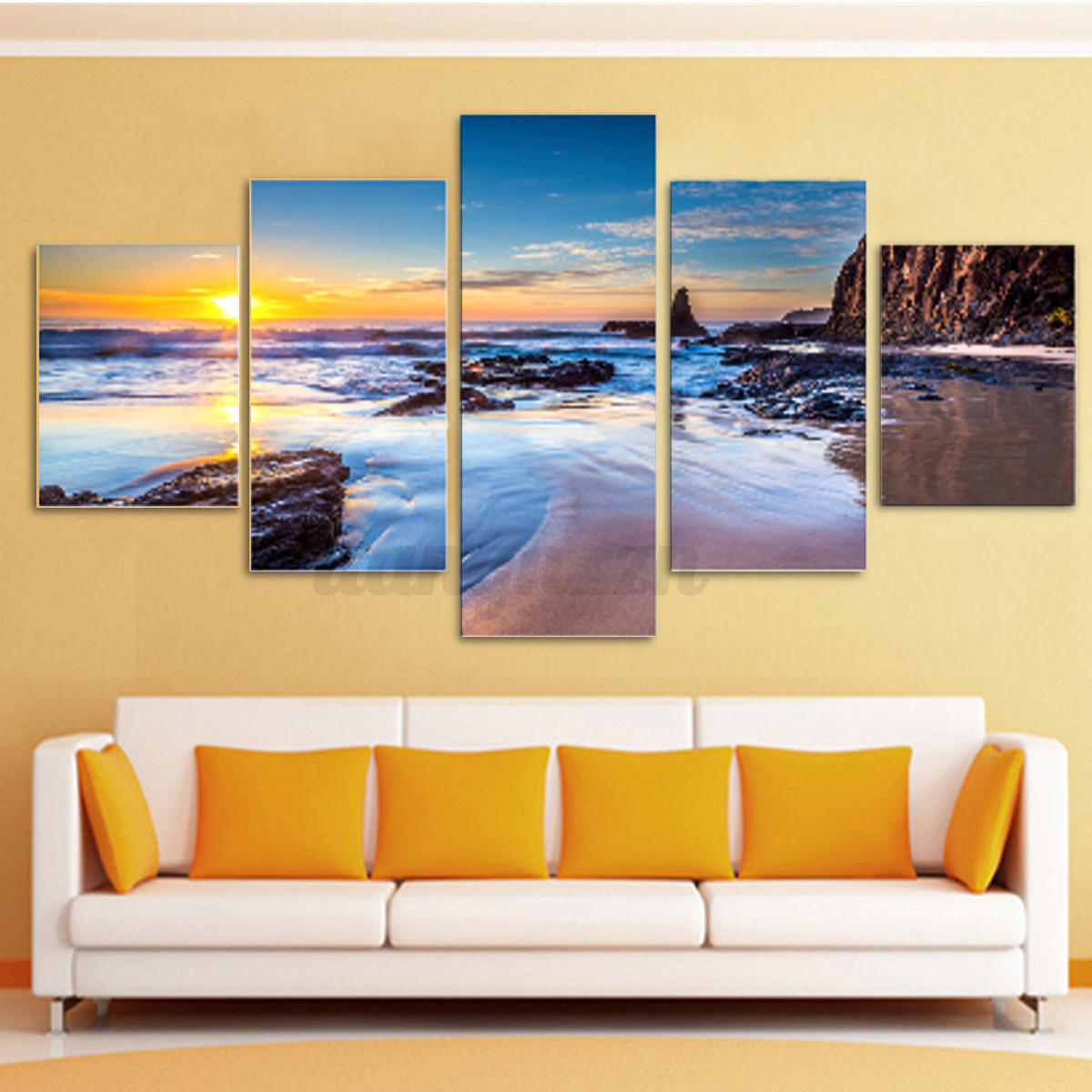 5Pcs Canvas Print Painting Wall Picture Modern Home Art Decor Framed ...