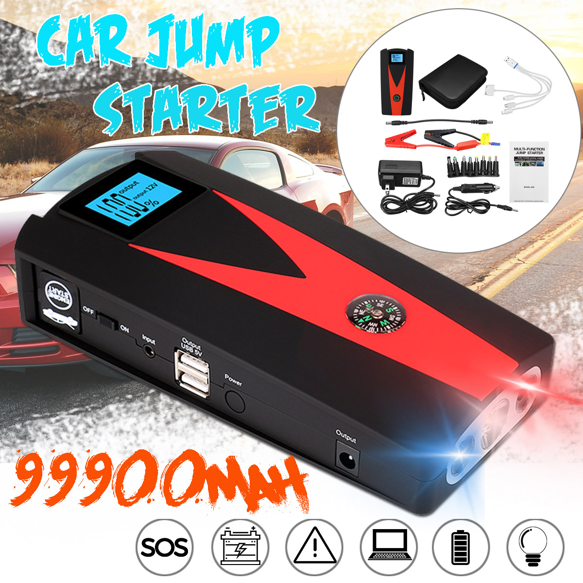 Car Jump Pack >> Details About 12v Portable Emergency Car Jump Starter Pack Booster Battery Charger Power Bank