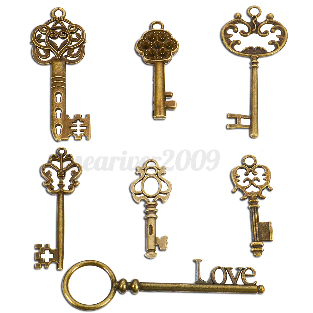 7 antique vintage old look skeleton keys lot bronze tone for Antique looking keys