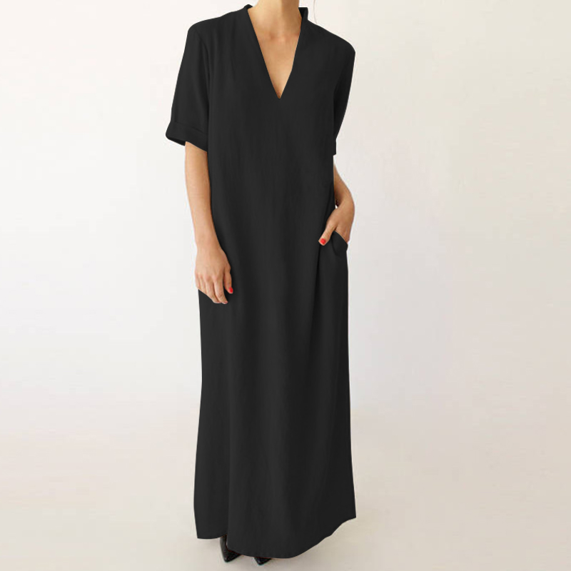 12898ff00c8 Details about UK 8-24 ZANZEA Women Sexy Deep V Neck Kaftan Vintage Tops  Shirt Baggy Long Dress