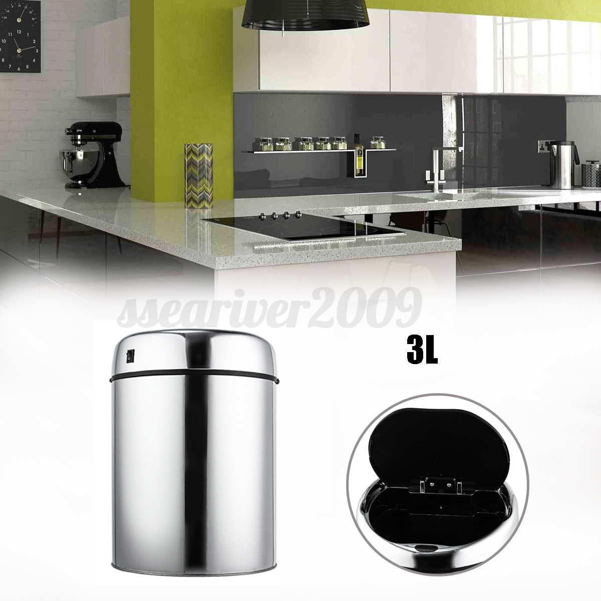 Stainless Steel Touch-Free Sensor Automatic Touchless Waste Bin ...