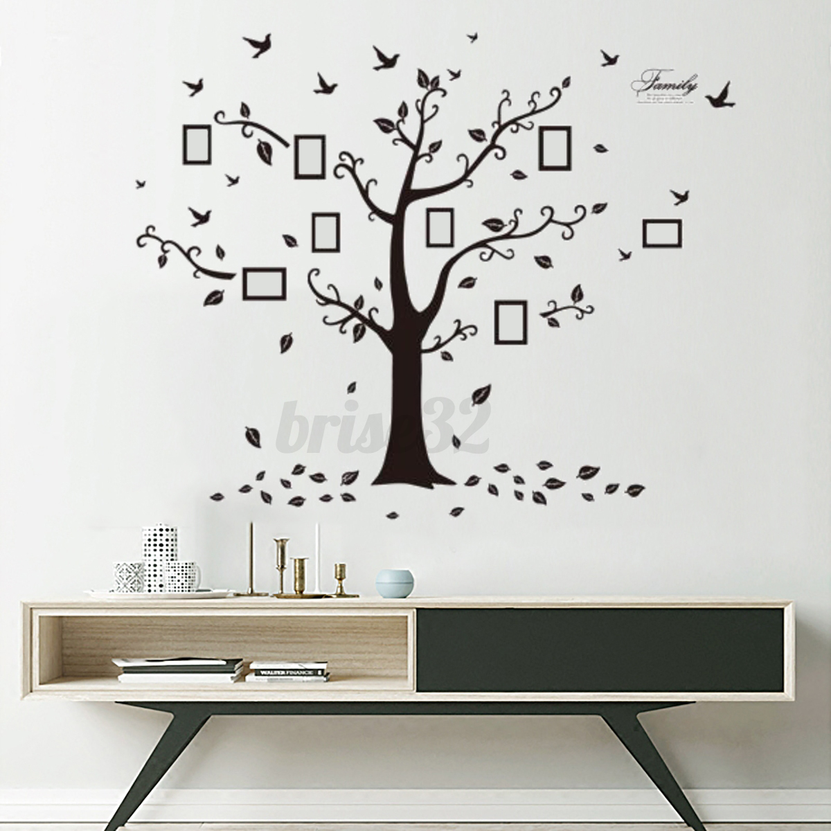 Large family tree diy decal paper art wall sticker home for Diy family tree wall mural