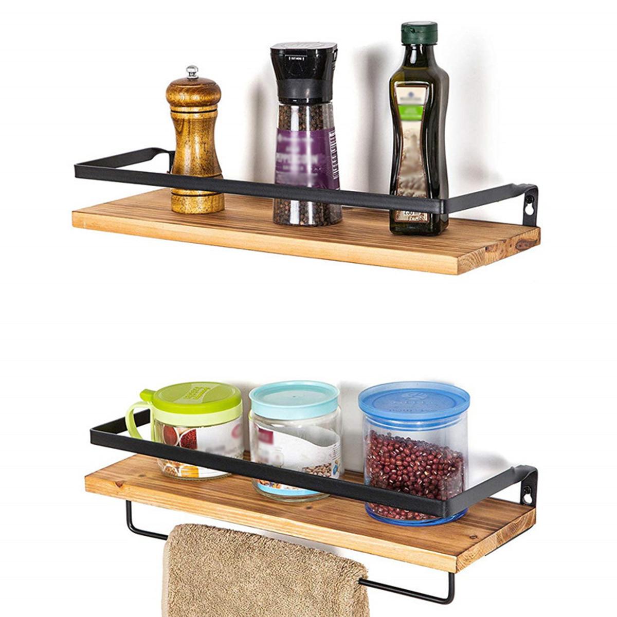 2x Metal Rustic Wooden Wall Shelf Shelves Mounted Storage Decor Kitchen Bathroom Ebay