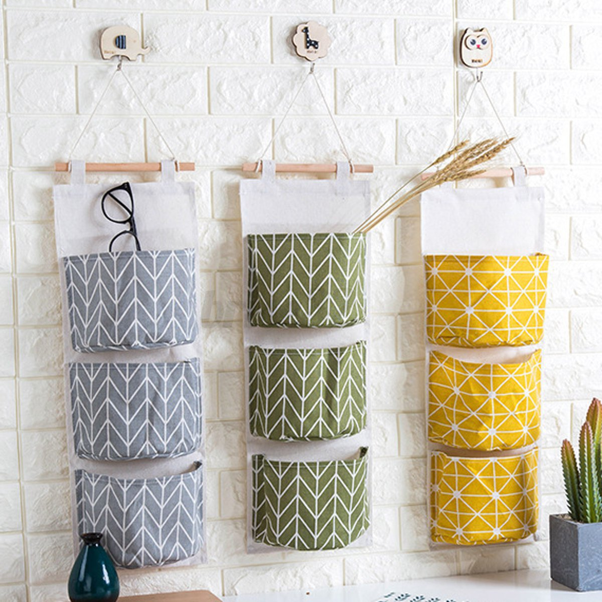 3 Grids Wall Hanging Storage Bag Organizer Toys