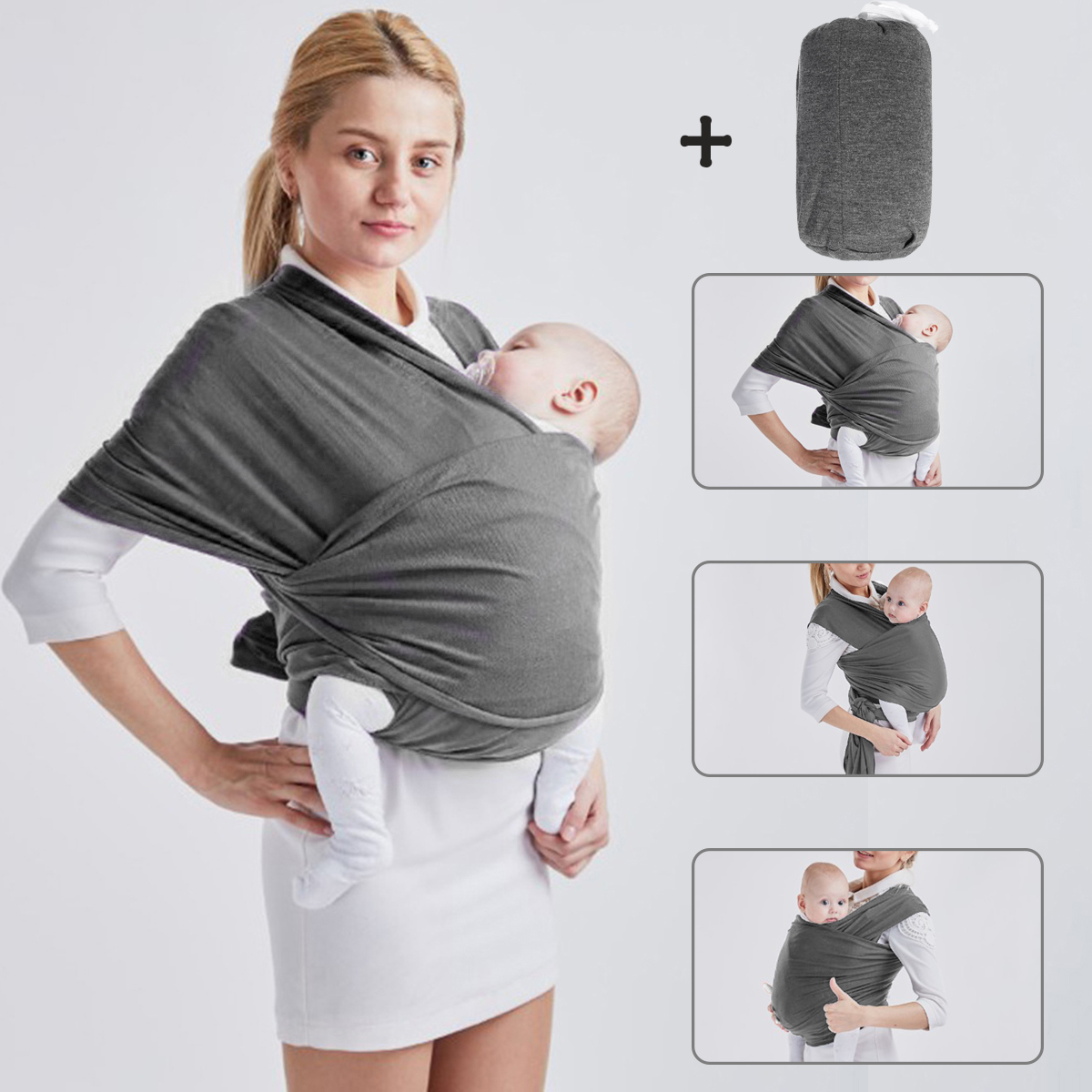 00e1f09d920 Image is loading Baby-Sling-Stretchy-Wrap-Carrier-Holder-Breastfeeding- Newborn-