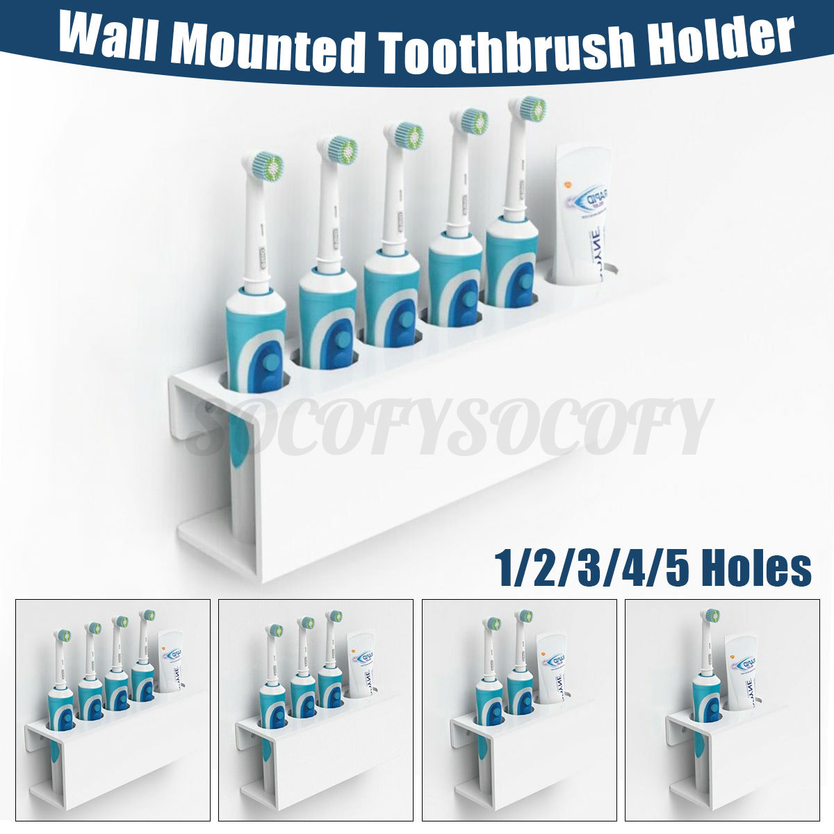 Wall Mounted Electric Toothbrush Toothpaste Holder Bathroom Organiser Storage Ebay