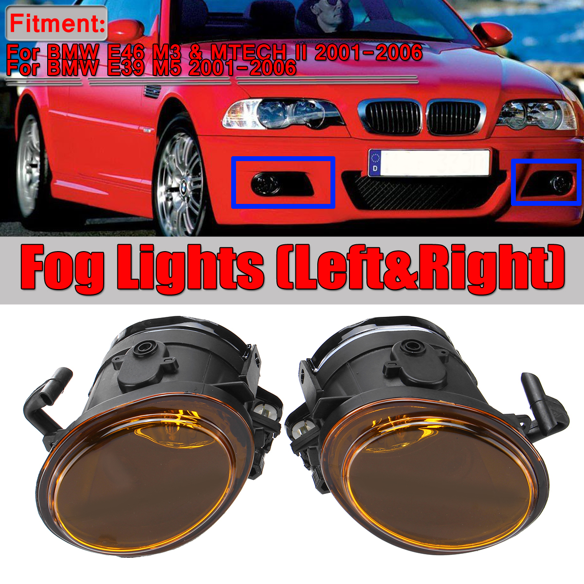 REPLACEMENT AMBER YELLOW FOG LIGHTS WITH BULBS FOR BMW E46 M3 MTECH 2 MTECHII
