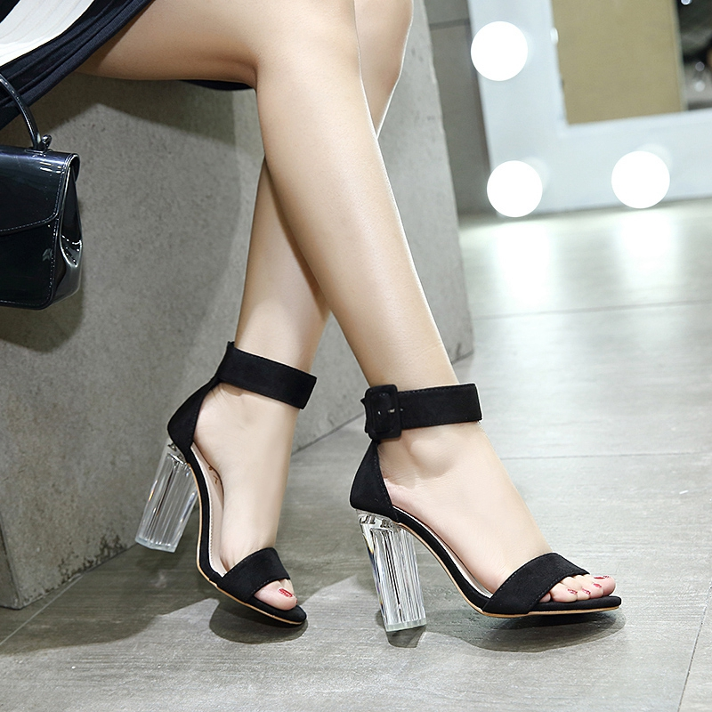 Image is loading New-Women-Transparent-Clear-Shoes-Crystal-Block-High-