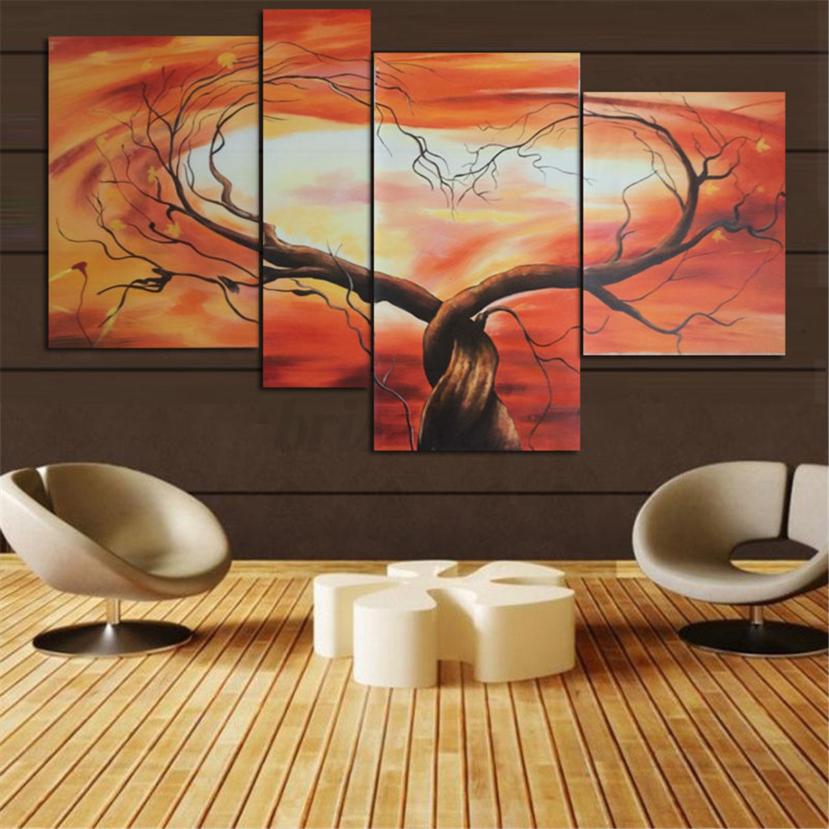 Modern Painting Canvas Basketball Wall Pictures Home Decor: Modern Abstract Tree Flowers Poster Art Canvas Prints