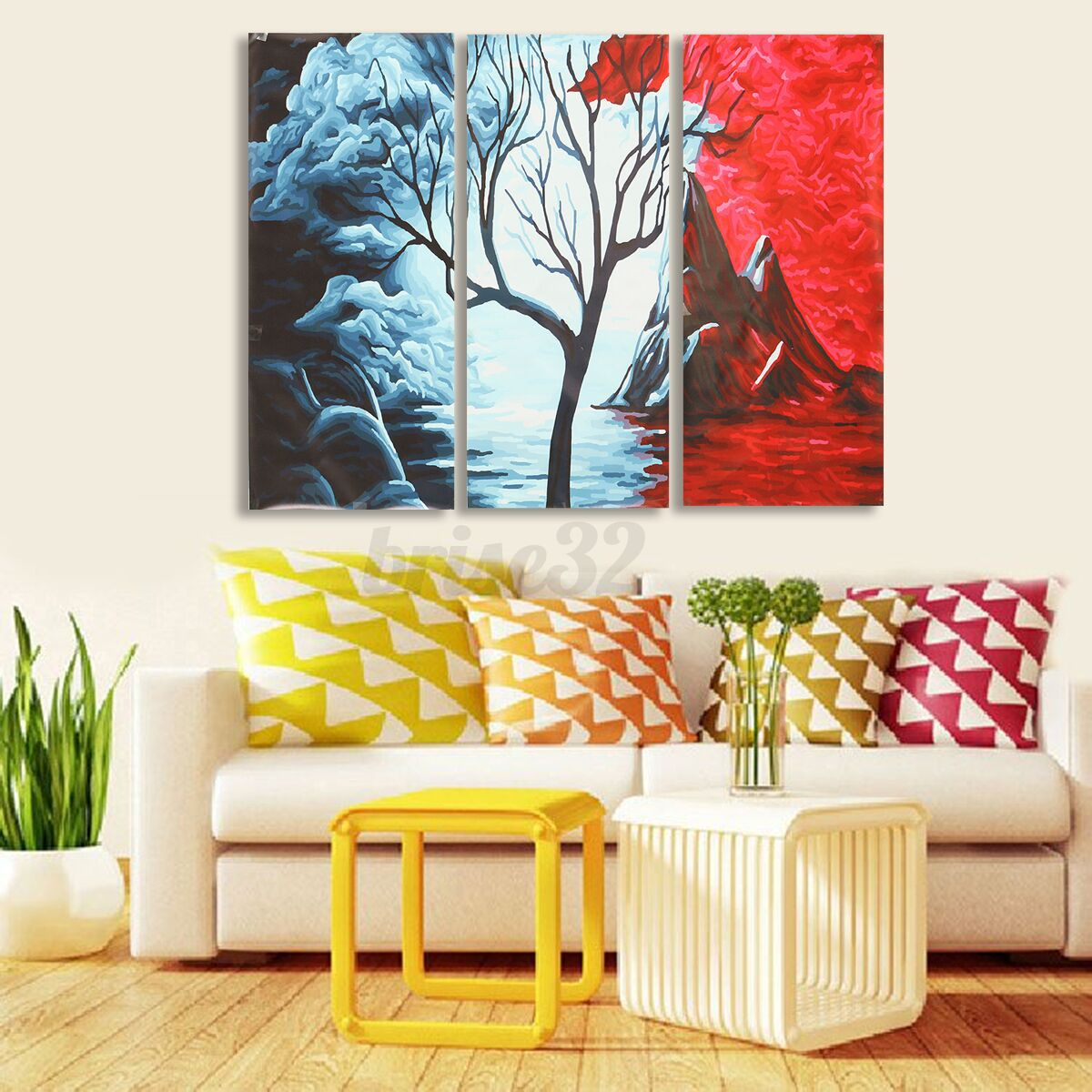 Modern Abstract Tree Flowers Poster Art Canvas Prints Painting Home ...