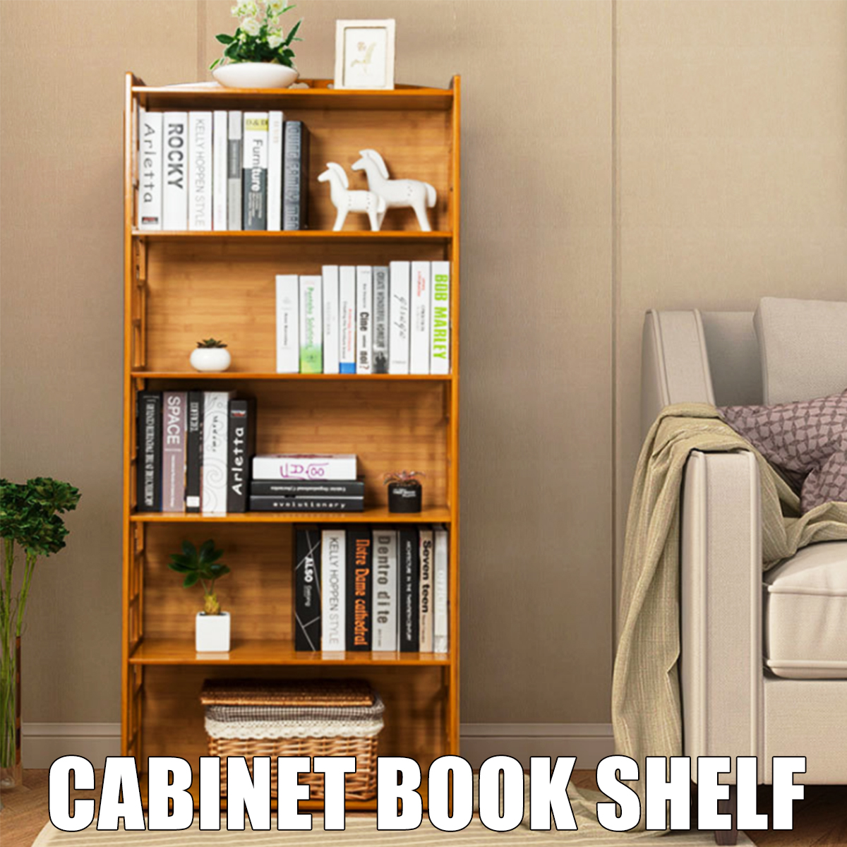 Details About Uk Wood Bookcase Shelving Unit Display Storage Shelf Vintage Cabinet 5 Layer