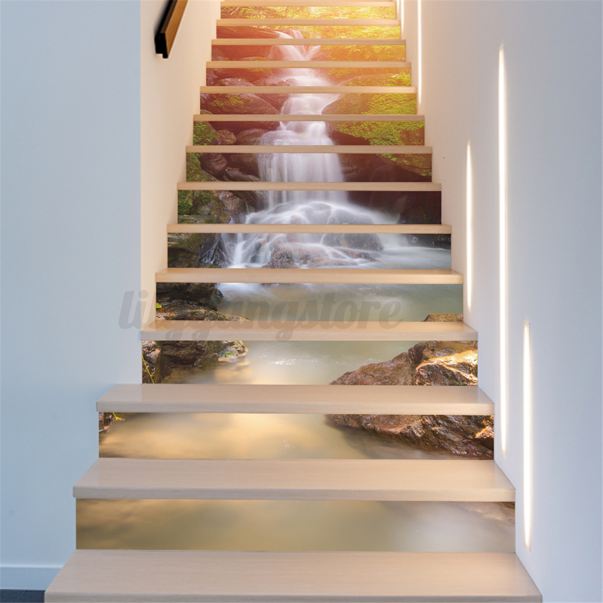 3d stair rise stickers decor photo mural vinyl wallpaper bedroom decor 18 100cm ebay. Black Bedroom Furniture Sets. Home Design Ideas